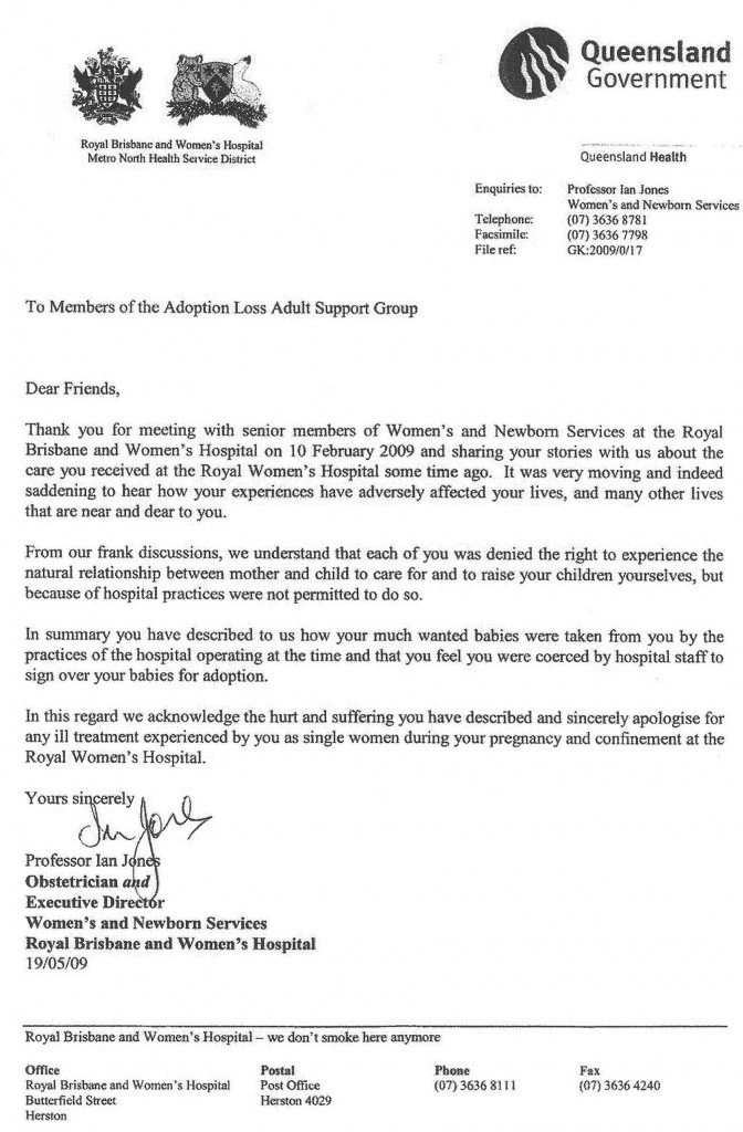 Letter From Brisbane Hospital Aus Sets Example FORBIDDEN FAMILY – Letter of Apology Example